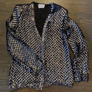 Jackets & Blazers - Vintage Silver Sequin Open Front Cardigan
